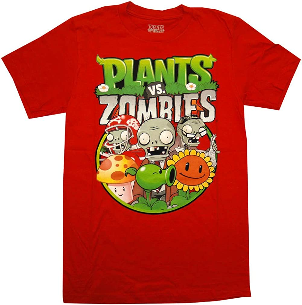 Plants Vs. Zombies Group Mens Red T-Shirt | S