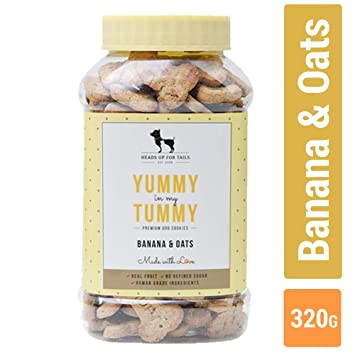a566245c54 Buy Heads Up For Tails Banana and Oats Huft Yummy In My Tummy Biscuit for  Dog Online at Low Prices in India - Amazon.in