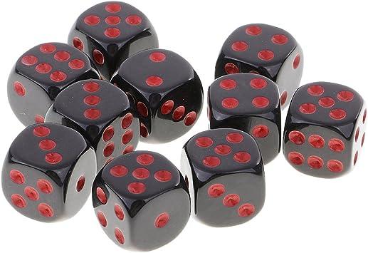Sharplace 10 Pieza D6 Dados Juegos de Mesa Mazmorras y Dragones MTG Juego RPG - Negro Rojo: Amazon.es: Juguetes y juegos