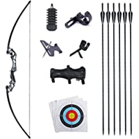 """TOPARCHERY 53"""" Recurve Bow and Arrows Set Alloy Riser Archery Beginner Gift Takedown Straight Bow Kit with 6 Carbon…"""