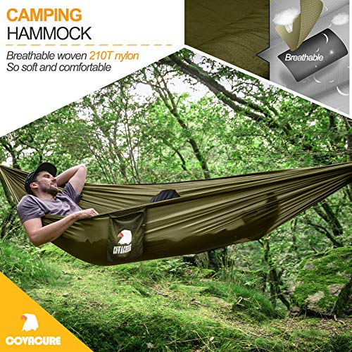 Camping Hammock with Net - Lightweight COVACURE Double Hammock, Portable Hammocks for Indoor, Outdoor, Hiking, Camping, Backpacking, Travel, Backyard, Beach