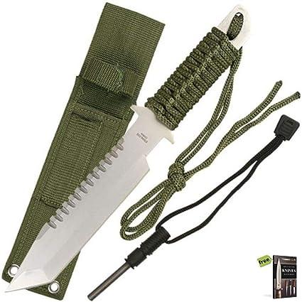 Amazon.com: SURVIVAL STEEL - Cuchillo táctico afilado para ...