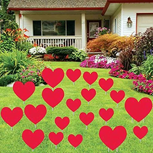 - VictoryStore Yard Sign Outdoor Lawn Decorations: Valentine's Day Red Hearts - Yard Decoration 20 Red Hearts.