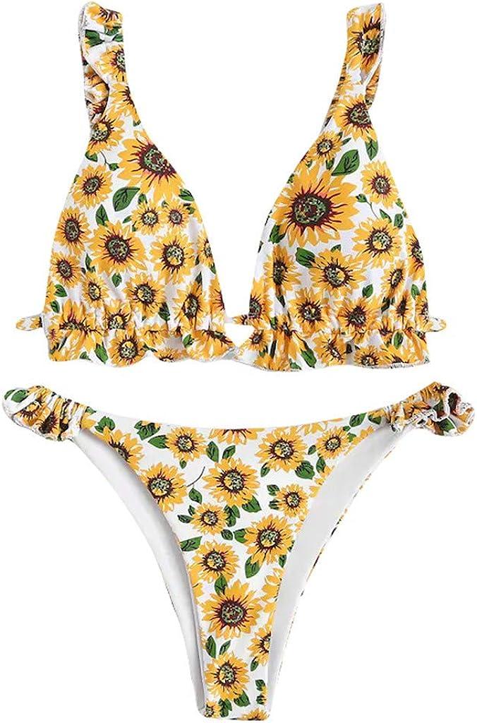 cinnamou 2018 Push Up Originales Marcas Bikini Conjunto BañAdor Mujers Bikini Mujer Traje de baño 2019 Push Up Estampado Floral Conjunto Hálter con aro Interior Ropa de Baño, Bañadores de Mujer 2019: