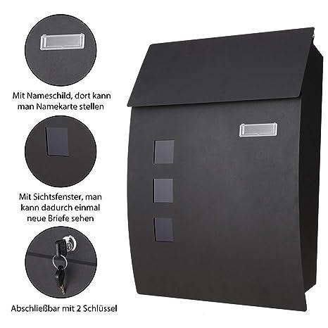 Meditool Buzón de Acero Inoxidable,Buzon de exterior, buzón de correos ,450 x 100 x 320 mm ,2 Llaves,Resistente al agua y con cierre,Negro
