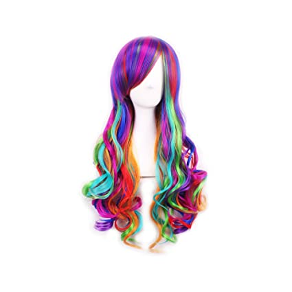 GoodPing Rainbow Ombre cosplay Girls fantasía bola fiesta Wave pelucas (Iris)