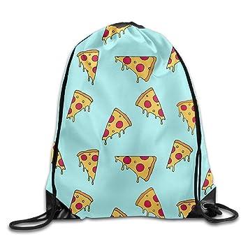 Meius - Saco de Dormir con cordón, diseño de Pizza, Color Amarillo y Rojo: Amazon.es: Deportes y aire libre
