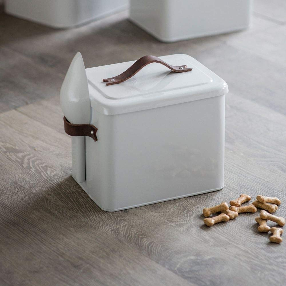 Garden Trading Pet Bin Food Storage with Scoop and Leather Handles Crafted in Steel Small