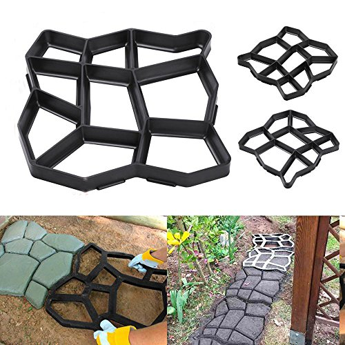 Black , Driveway Paving Pavement Mold Patio Concrete Stepping Stone Path Walk Maker New (Design Step Patio Ideas Wooden)