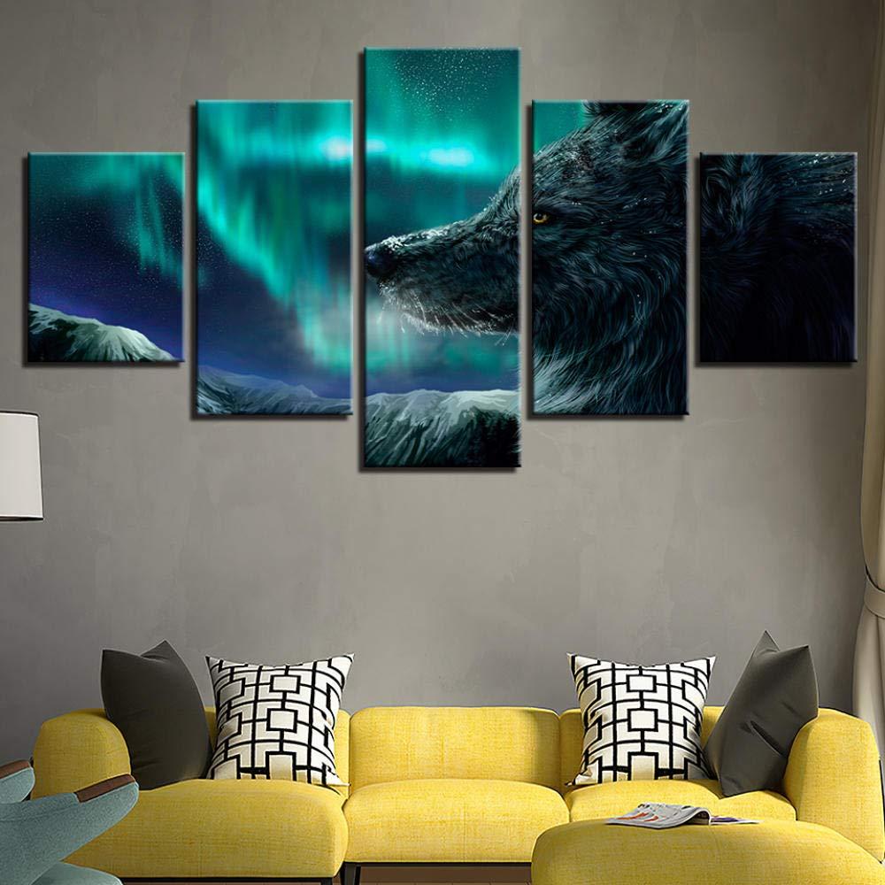 YIUIU Leinwanddrucke Wohnkultur Zimmer Poster Hd Gedruckt Abstrakte Malerei 5 Panel Wolf Tier Aurora Hintergrund Leinwand Wandkunst Bilder Rahmen