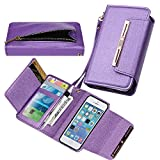 Case for iPhone 5 5S SE, xhorizon SR [Upgraded] 2 in 1 Premium Leather Wallet Rhinestone Button Closure Magnetic Car Mount Phone Holder Compatible Folio Case for iPhone 5 5S / iPhone SE (2016) - Purple