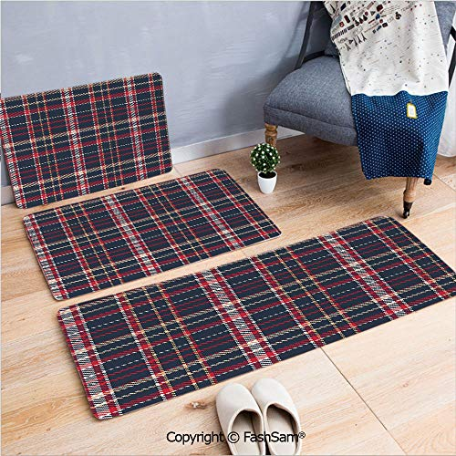 3 Piece Flannel Bath Carpet Non Slip Classic Quilt Checkerboard Pattern with Pixel Art Inspirations Traditional Image Decorative Front Door Mats Rugs for Home(W15.7xL23.6 by W19.6xL31.5 by W15.7xL39.4 ()
