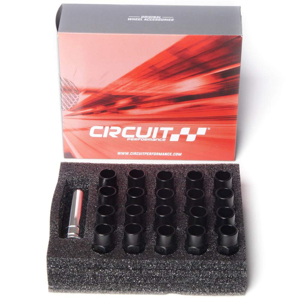 Circuit Performance Forged Steel Extended Open End Hex Lug Nut Aftermarket Wheels 1//2-20 Black 20 Piece Set Tool