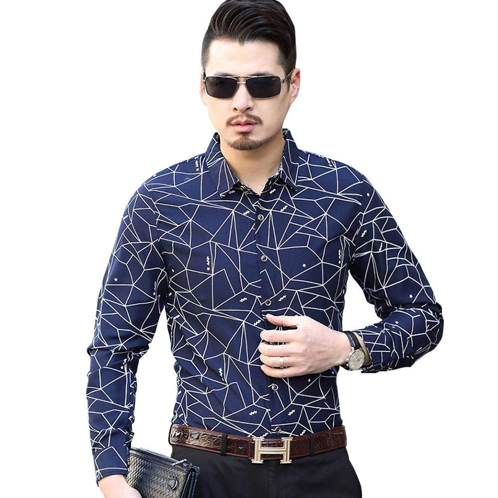 Sky Blue,M ZHQUN Autumn New Trend Mens Fashion Printed Casual Long-Sleeved Shirt