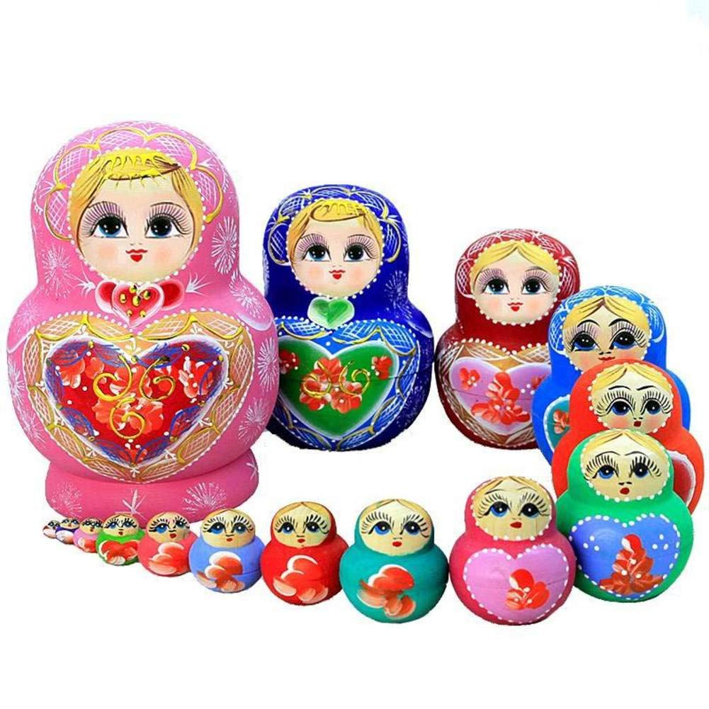 Nesting Dolls 15 Piece Matryoshka Nesting Dolls,Children's Wooden Stacked Nesting Handmade Toys Kids Best Gift