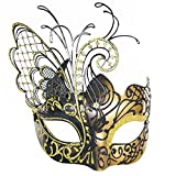CCUFO [Flying Butterfly] Gold/Black Face with [Sparkling Wing] Laser Cut Metal Venetian Women Mask For Masquerade/Party/Ball Prom/Mardi Gras/Wedding/Wall Decoration