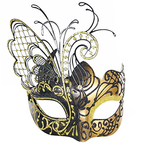 [Flying Butterfly] Gold/Black Face with [Sparkling Wing] Laser Cut Metal Venetian Women Mask For Masquerade / Party / Ball Prom / Mardi Gras / Wedding / Wall (Face Gold Metal)