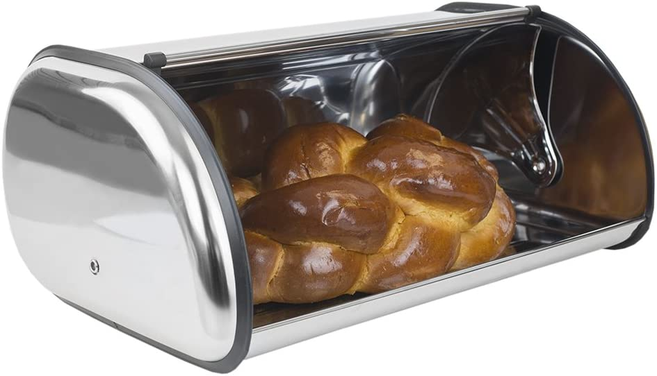 Home Basics Stainless Steel Bread Box, Kitchen Storage and Organization, Stores Brownies, Cookies, Loaves of Bread, Silver