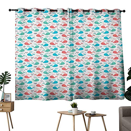 Mannwarehouse Whale Printed Insulation Curtain Colorful Cartoon Whales with Smiling Faces Giant Mammals of The Ocean for Living, Dining, Bedroom (Pair) 63