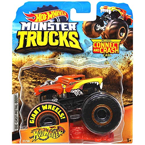 Hotweiler Orange Giant Wheels Monster Trucks con Connect & Crash Car