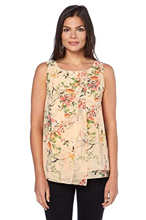 ef5a40359b4 Roman Originals Women's Floral Double Layer Top - Ladies Tops for ...