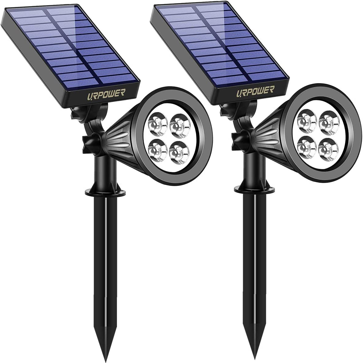 URPOWER Solar Lights, 2-in-1 Waterproof 4 LED Solar Spotlight Adjustable Wall Light Landscape Light Security Lighting Dark Sensing Auto On Off for Patio Deck Yard Garden Driveway Pool Area 2 Pack