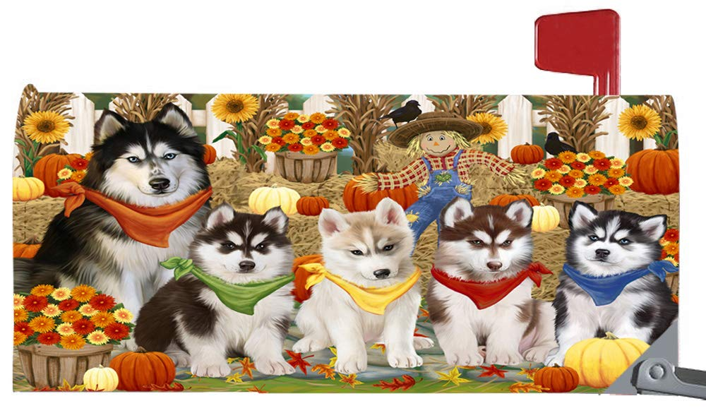 Magnetic Mailbox Cover Harvest Time Festival Day Siberian Huskies Dog MBC48076