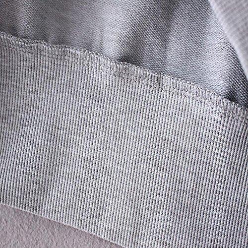 Tongshi Señoras de las mujeres de impresión de letras de manga larga con capucha jersey suelto blusa de la camisa de la tapa Gris