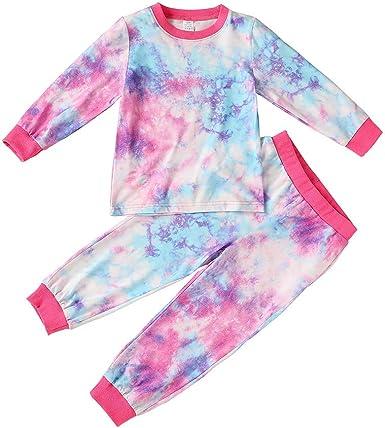 Toddler Baby Boys Girls Tie Dye Pajamas Set Top and Pants Pjs Homewear 2pcs Outfit Set