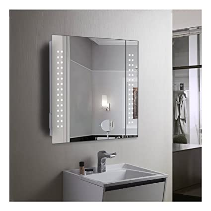 60 led light bathroom mirror cabinet shaver socket demister sensor rh amazon co uk bathroom mirror cabinets with lights and shaver socket bathroom mirror wall cabinet with light