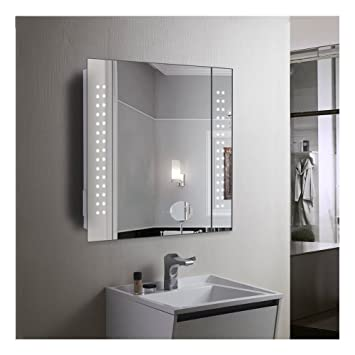 60 LED LIGHT BATHROOM MIRROR CABINET SHAVER SOCKET DEMISTER SENSOR GALACTIC
