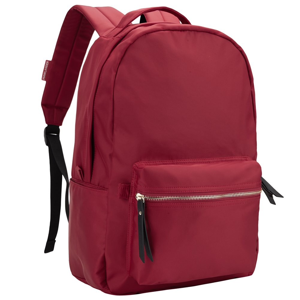 HawLander Nylon Backpack for Women School Bag for Girls,Small Size,Lightweight (Wine Red 02)