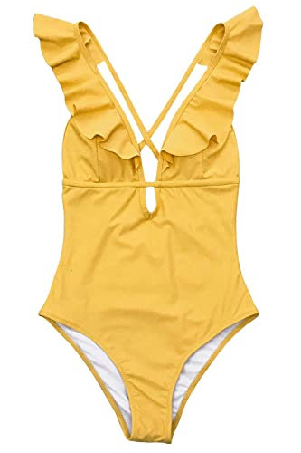 CUPSHE Women's Falbala One Piece Swimsuit Deep V Neck Monokini Swimsuit, Yellow Small