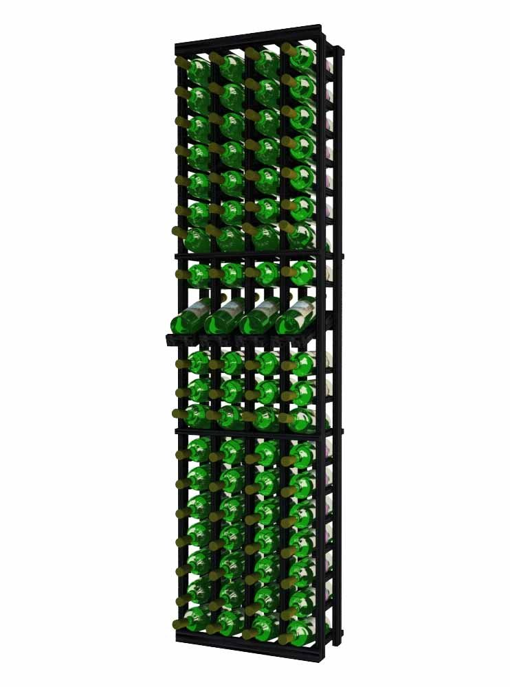 Wine Cellar Innovations TR-MB-4COLDS-A3 Traditional Series 4 Column with Display Wine Rack, Premium Redwood, Midnight Black Stain