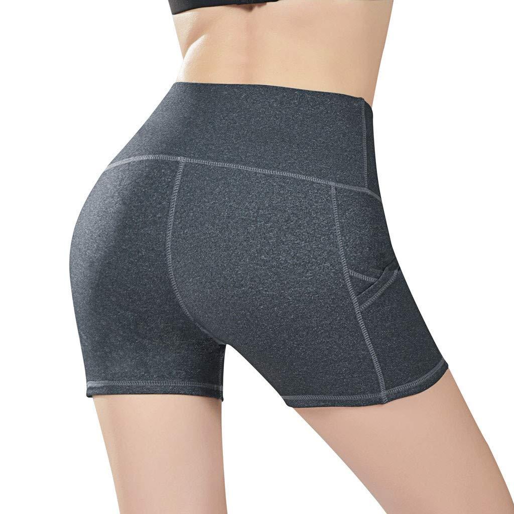 Jianekolaa_Pants High Waist Out Pocket Yoga Short Tummy Control Workout Running Athletic Non See-Through Yoga Shorts Dark Gray