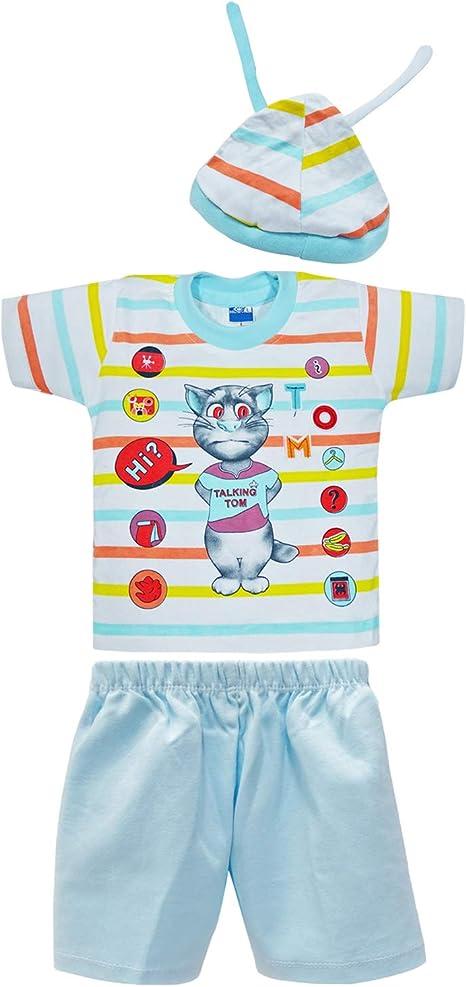 PEEGLI Conjunto De Ropa De Bebé De 3 Pcs. Camiseta De Algodón Azul ...