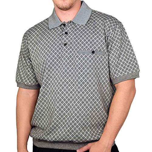 Classics by Palmland Allover Short Sleeve Banded Bottom Shirt 6070-305 Black (L, Black)