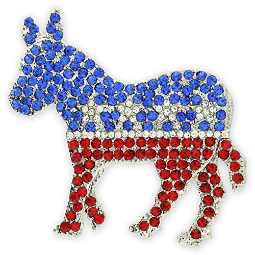 Democrat Donkey Pin Lapel (PinMart Rhinestone Democrat Party Donkey Political Brooch Lapel Pin)