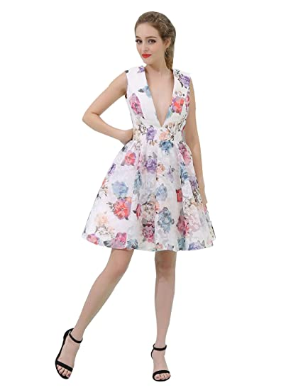 241b1ea499 VANKOKO Women s Sexy Deep V-Neck Short Floral Prom Dresses Cocktail Party  Gown Size 2