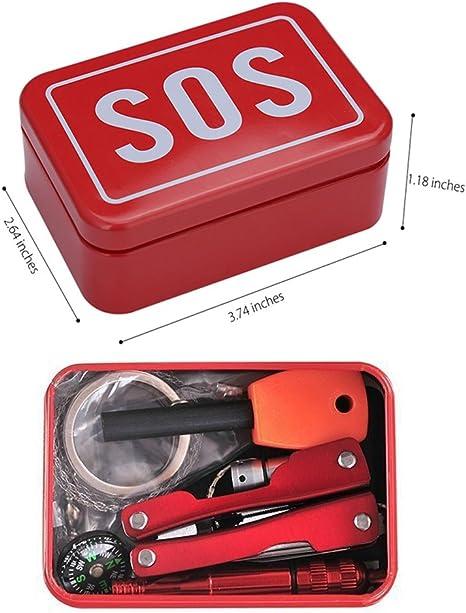 Kit de supervivencia y emergencia SOS, 6 en 1, caja multifuncional de primeros auxilios para autoayuda, equipo necesario para camping, senderismo, emergencia en coche: Amazon.es: Deportes y aire libre