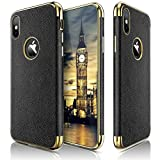 iPhone X Case, LOHASIC [Premium Leather Coated] Ultra Slim & Thin Luxury Textured Back Cover Soft Flexible Full Body Electroplate Frame Non-Slip Shockproof Case for Apple iPhone X 10 - [Black]