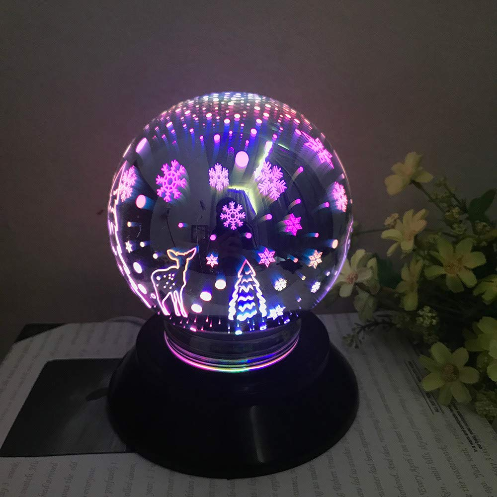 Transer 3D Colorful Magical LED Light USB Charging Table Desk Moon Lamp Home Party Decoration Gift (A)