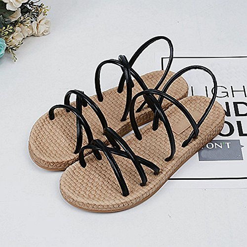 Cybling Sandalias De Bohemia Planas De Moda Para Mujeres Zapatillas De Playa Strappy Negro