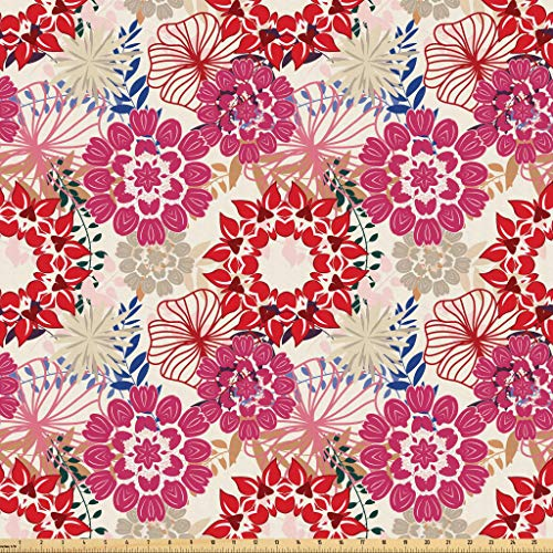 Lunarable Paint Fabric by The Yard, Vintage Floral for sale  Delivered anywhere in USA
