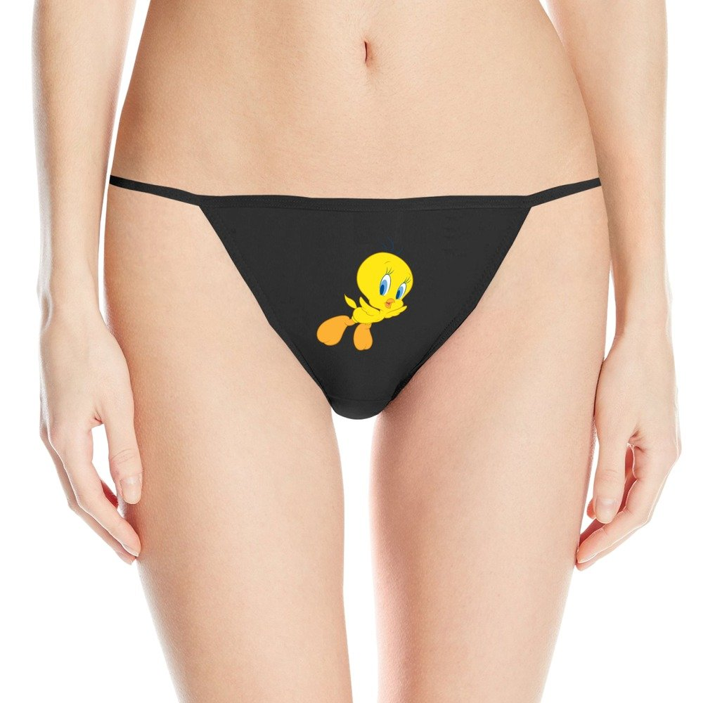 Looney Tunes Tweety Bird Black Personalized G-string For Womans
