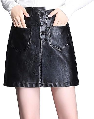 E-Girl ED1927 - Falda de Piel sintética para Mujer Negro 36 EU ...