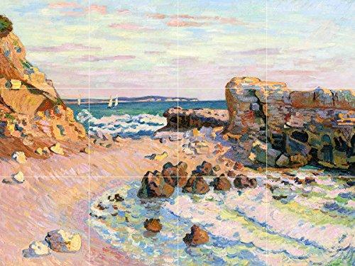 - Tile Mural Coast by Jean-Baptiste-Armand Guillaumin Cliffs Rocks Gulf Sailboats Ocean Kitchen Bathroom Shower Wall Backsplash Splashback 4x3 4.25