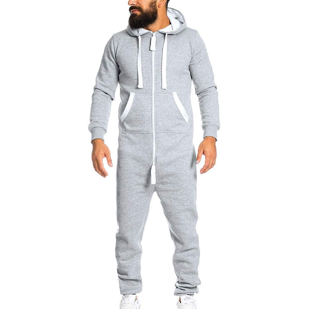 Casual Tracksuit Jumpsuit Men Overalls Sweatshirt Hoodies Pants Romper Clothing