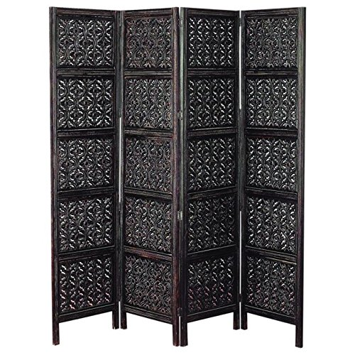 - Legacy Decor 4 Panel Hand Carved Solid Wood Screen Room Divider, Black Finish, 72''H x 80''L