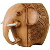 Wood Carving Elephant Pencil Holder Fashion Creative Wooden Pen Holder,cute Pencil Holder for Desk